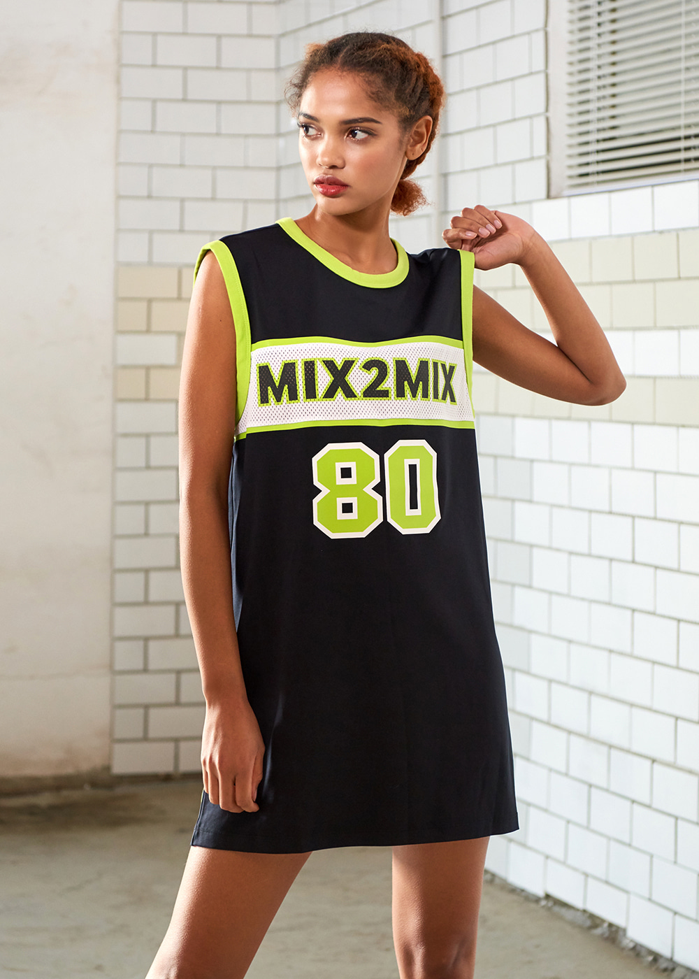 [MSSS01_04BK] BASKETBALL SLEEVELESS SHIRT DRESS