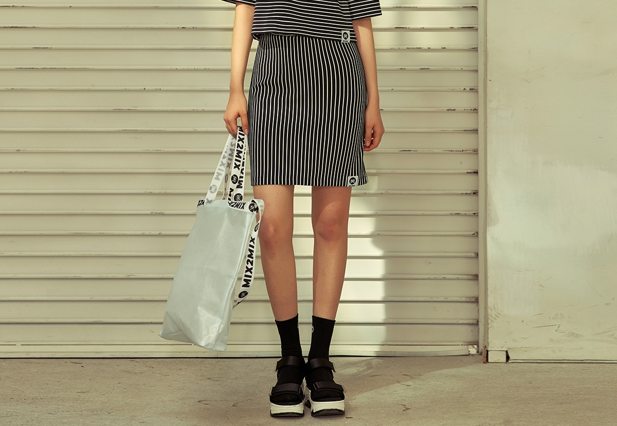 [80%단기세일]  [MSBK01_02BK] STRIPE SKIRT